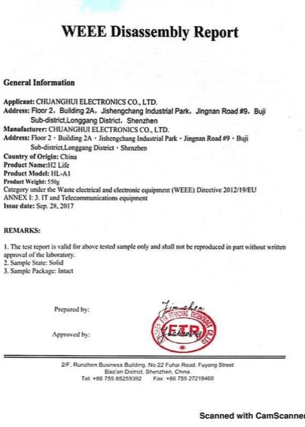H2 Life генератор водородной воды, сертификат качества H2Life, h2 life сертификат 2